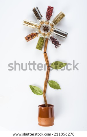 Flower made of spices and herbs isolated on a white background - stock photo