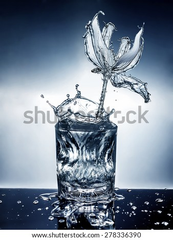 flower made of water with glass - stock photo