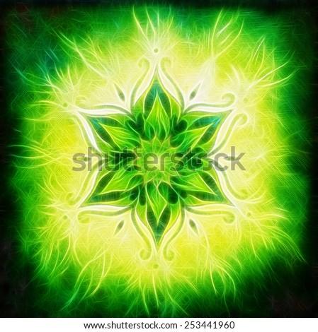 Flower Mandala on a green background fractal color effect - stock photo