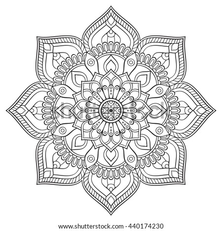 Simple Black Indian Mandala On White Lager-vektor ... | 450 x 470 jpeg 65kB