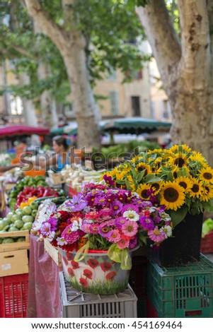 Flower Market in Place de L'Hotel de Ville Square, Aix-en-Provence - stock photo
