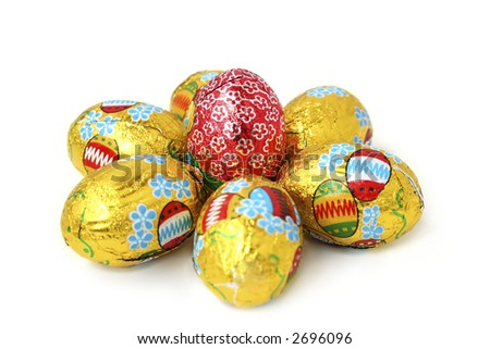 Flower of easter eggs on a White background.