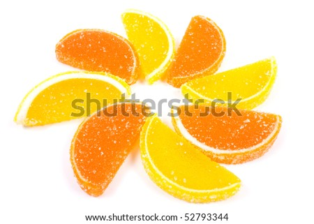 Flower of fruit jellies. Jelly candies citrus in form lobules isolated on a white background