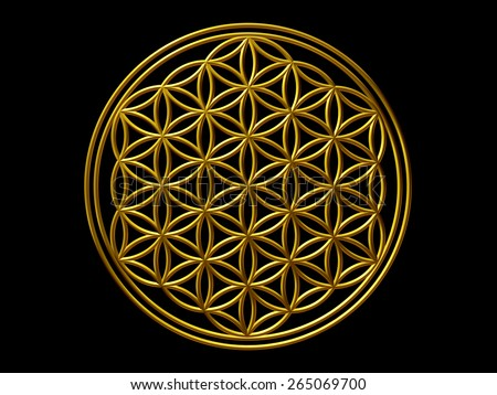 Flower of Life, Ornament in gold - stock photo