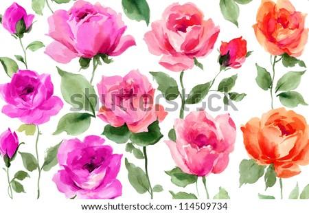 flower original watercolor art - stock photo