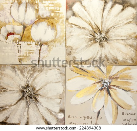 Flower paintings - stock photo