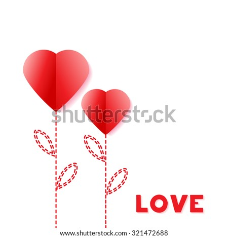 Flower Paper Heart. Happy Valentines Day Greeting card. Suitable for various designs, invitation and scrapbook. - stock photo
