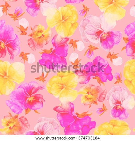 Flower pattern and print, watercolor painting isolate on pink - stock photo