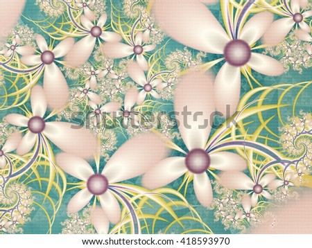 Flower pattern in fractal design. Green and pink palette. Computer generated graphics. - stock photo