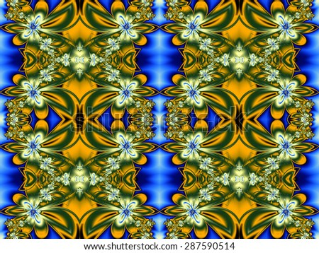 Flower pattern in fractal design. Green, yellow and blue. Computer generated graphics.