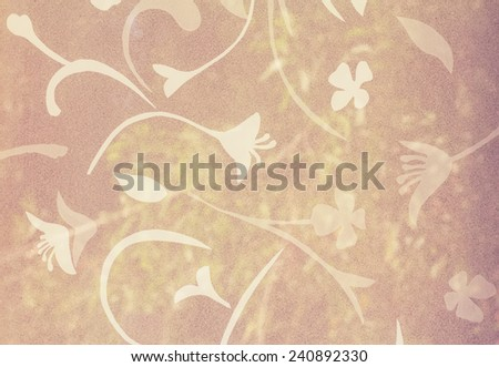 Flower pattern on Background corrugated glass - stock photo