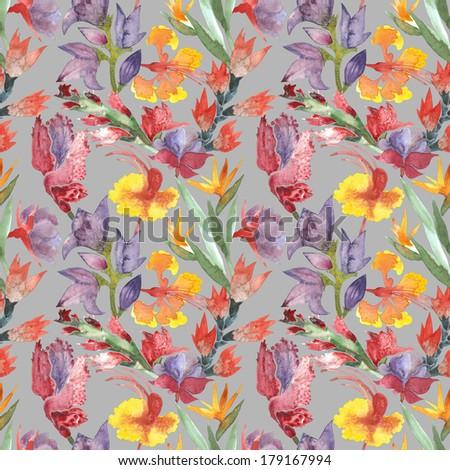 Flower pattern watercolor illustration - stock photo