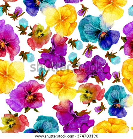 Flower pattern, watercolor painting on white background - stock photo