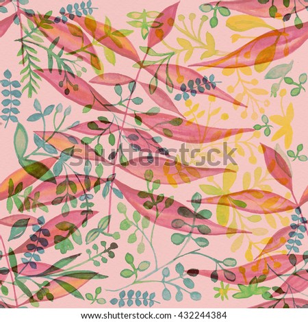 Flower pattern with tropical plants. Watercolor  flower design. Painting for an exotic surface. Ornament fabric. Drawingbackground, 2016, fashionable, seamless, Rose Quartz ,Rose,Peach Echo ,Peach. - stock photo