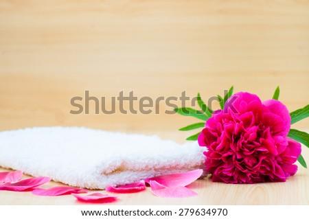 Flower petals bath concept - stock photo