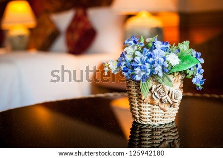 flower pot in a decorated room - stock photo