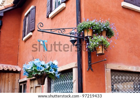 flower pot on house
