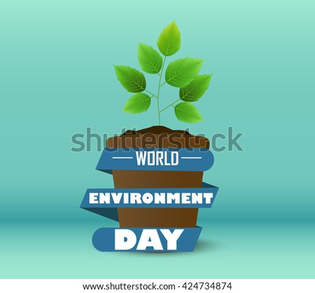 Flower Pot with blue ribbon a shape circular for world environment day - stock photo