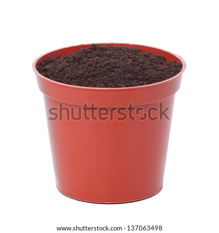 flower pot with ground soil isolated on white - stock photo