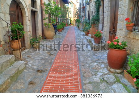 Flower pots along historical buildings inside medieval quarter of Le Turbie, French Riviera, France