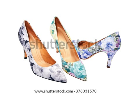 Flower-print high heel women shoes isolated on white. - stock photo