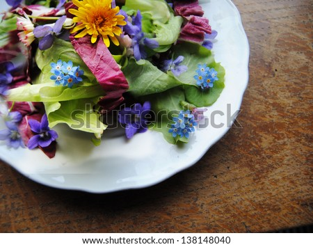 Flower salad - stock photo