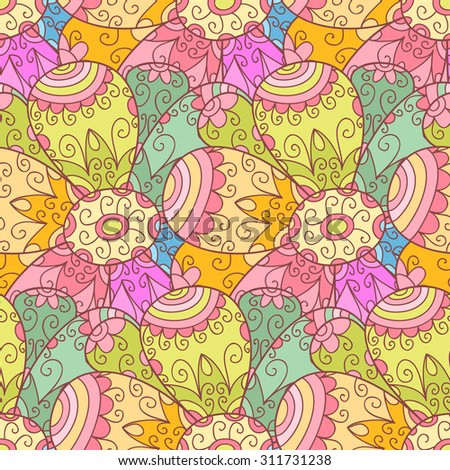 Flower seamless pattern. Doodle background with flowers, leafs and cute swirls. Cute print background. Cartoon background.