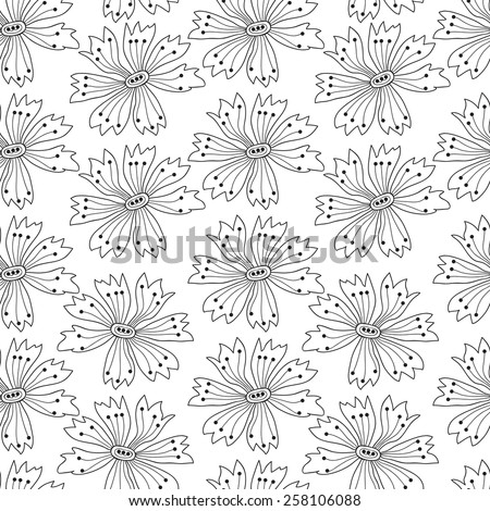 Flower seamless pattern with cornflowers.