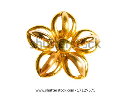 Flower shaped gold earring isolated on white - stock photo