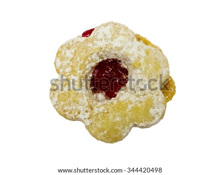Flower shaped jam cookie isolated on white background. Top view. - stock photo