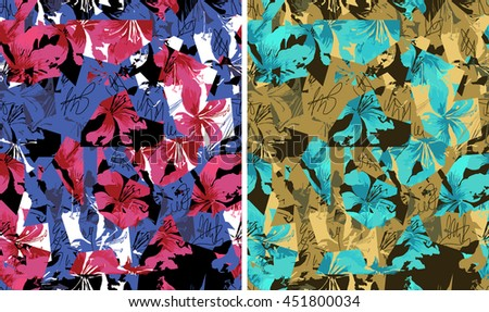 Flower sketch bouquet hand drawing seamless pattern - stock photo