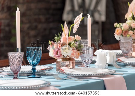 Flower Table Decorations For Holidays And Wedding Dinner. Table Set For  Holiday, Event,
