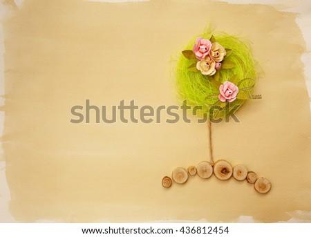 Flower tree scrapbook background - stock photo