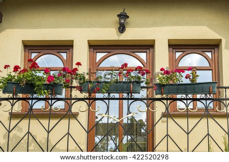 flower tubs outdoors - stock photo
