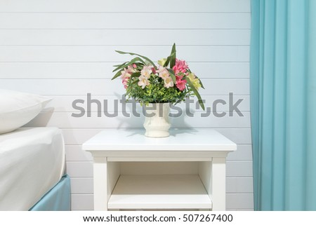 Flower Vase On Table White Clean Stock Photo Royalty Free