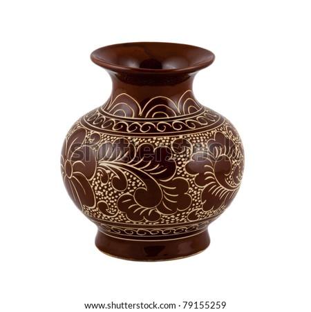 flower vase on the white background - stock photo