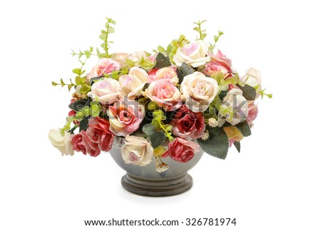 flower vase rose artificial - stock photo