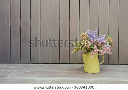 flower vase with wood background