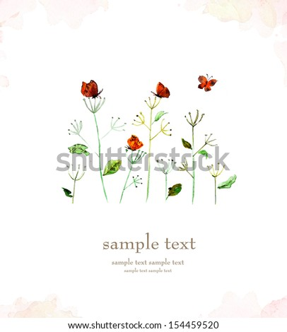 Flower watercolor card - stock photo