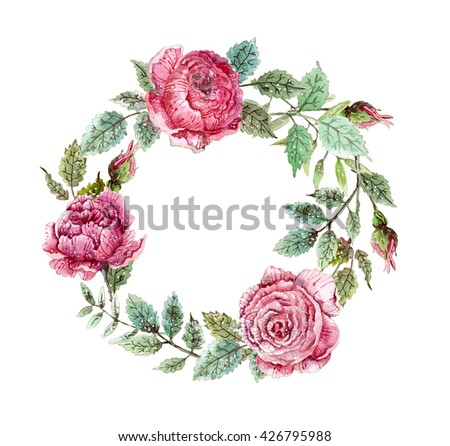 Flower watercolor wreath for beautiful design - stock photo
