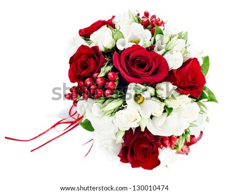 Flower wedding bouquet from white and red roses isolated on white background - stock photo