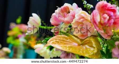 Flower wedding holiday decoration, beautiful pink roses peony blooming bouquet on black panorama - stock photo