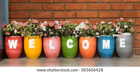 flower welcome - stock photo