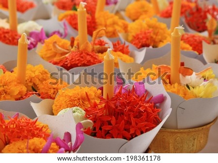 flower with candle  to Buddhist in Thailand - stock photo