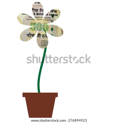 Flower with petals of India Rupee money currency in flower pot, illustration to demonstrate how to grow money similar to that of a flower