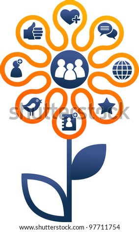 Flower with social Media and network icons - stock photo