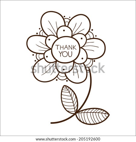 Flower with thank you text.  - stock photo