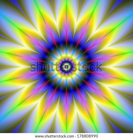 Flower Within The Flower / Digital abstract fractal image with an infinity flower design in blue, yellow, pink and green.