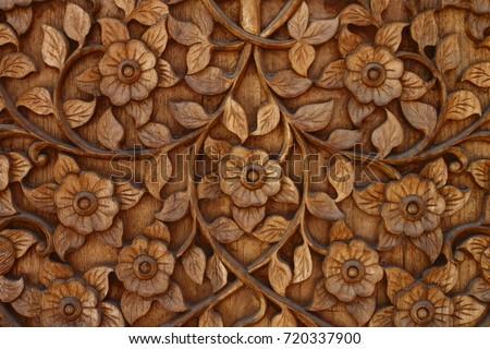 Flower Wood Carving Buddhism Style Decoration At Wat Ram Poeng Tapotaram ChiangMai