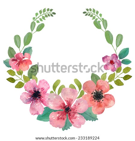 Flower wreath, design element. Perfect for wedding invitations, celebration cards and any printing or decoration. Hand watercolor painting. Isolated in white background - stock photo